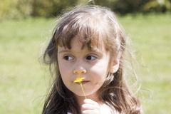 красивейший кавказский играть девушки цветка Стоковые Фото