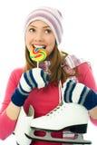 красивейший кататься на коньках льда goind девушки Стоковое Изображение RF