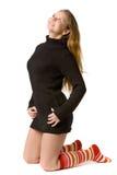красивейший коричневый свитер девушки Стоковые Изображения RF