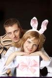 красивейший костюм зайцев девушки подарка Стоковое Изображение RF