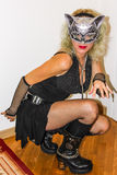 красивейший кот outdoors играя женщин женщины Стоковые Фотографии RF