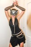 красивейший кот outdoors играя женщин женщины Стоковое Изображение