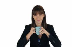 красивейший кофе коммерсантки брюнет 2 Стоковые Изображения