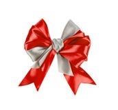 Красивейший красный смычок подарка сатинировки стоковая фотография rf
