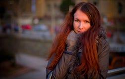 красивейший красный цвет волос девушки Стоковое Изображение