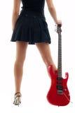красивейший красный цвет гитары девушки Стоковая Фотография