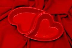 красивейший красный цвет 2 сердец Стоковое Изображение