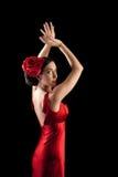 красивейший красный цвет flamenco платья танцора Стоковые Изображения RF