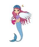 красивейший маленький mermaid сирена абстрактная тема моря предпосылки абстракции Стоковые Изображения
