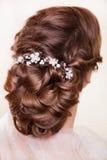 красивейший милый стиль причёсок фиксирует модельное венчание профиля портрета Стоковое Изображение