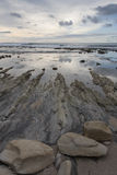 Камень и риф на пляже Стоковые Изображения