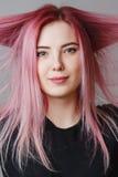 красивейший пинк волос девушки Стоковая Фотография