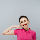 красивейший пинк девушки платья Стоковое Фото