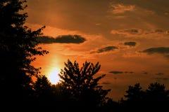 Красивейший померанцовый заход солнца Стоковое Изображение RF