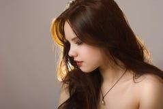 красивейший портрет близкой девушки вверх Стоковое Изображение