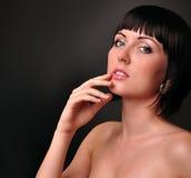 красивейший портрет девушки способа брюнет Стоковое Изображение