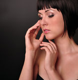 красивейший портрет девушки способа брюнет Стоковое Изображение RF