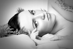 красивейший портрет monochrome девушки Стоковое Изображение RF