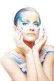 красивейший портрет PA модели бабочки тела Стоковая Фотография
