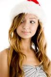 красивейший представлять шлема девушки рождества Стоковая Фотография