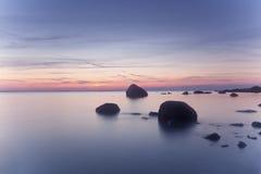 красивейший прибрежный заход солнца Стоковое Изображение