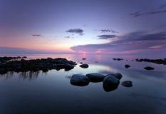 красивейший прибрежный заход солнца Стоковое Фото