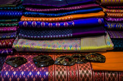Красивейший ручной работы тайский шелк Стоковое Изображение