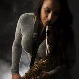 красивейший саксофон игрока Стоковое Изображение