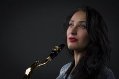 красивейший саксофон игрока Стоковое Фото