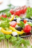 Красивейший салат томата, перца и зеленых цветов Стоковое Фото