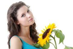 красивейший солнцецвет девушки Стоковая Фотография RF
