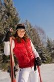 красивейший способ катается на лыжах женщина зимы Стоковое Изображение RF