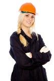 Красивейший строитель девушки представлять стоимости Стоковые Фото