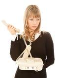 красивейший телефон удерживания коммерсантки Стоковое фото RF