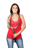 красивейший теннис ракетки девушки брюнет Стоковые Фотографии RF