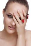 красивейший тип состава волос девушки способа брюнет Красивый состав и волосы Стоковое Изображение RF