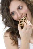 красивейший торт есть девушку Стоковое Изображение RF