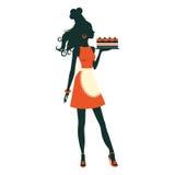 Красивейший торт удерживания хлебопека свеже испеченный иллюстрация штока