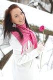 красивейший усмехаться девушки Frost, зима Стоковое Изображение