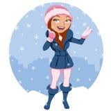Женщина под снежком Стоковое Изображение