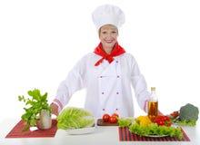 красивейший шеф-повар завтрака подготовляет Стоковая Фотография