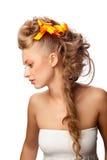 красивейший шикарный стиль причёсок девушки Стоковое фото RF