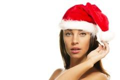 красивейший шлем santas рождества нося женщину Стоковые Фотографии RF