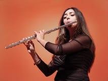 красивейший flutist Стоковые Фото