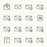 красивейшими вектор иконы электронной почты установленный иконами иллюстрация вектора