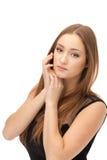 красивейшими коричневыми женщина изолированная волосами Стоковая Фотография RF