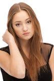 красивейшими коричневыми женщина изолированная волосами Стоковые Фотографии RF