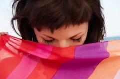 красивейшим striped портретом женщина ткани Стоковая Фотография RF