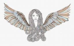 Красивое Анджел с развевая волосами Стоковая Фотография