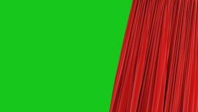 Красивое безшовное красное одиночное отверстие занавеса и закрывать на зеленом экране Закрепленный петлей конспект анимации 3d ре иллюстрация вектора